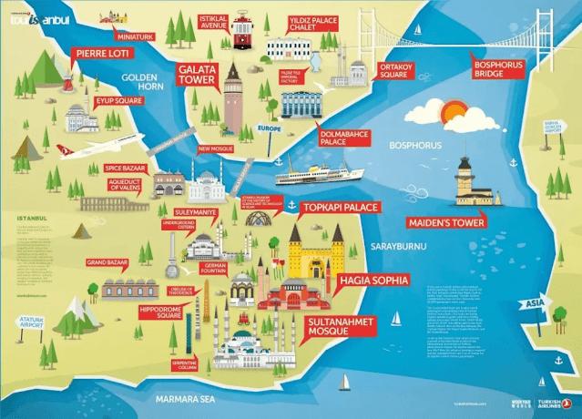 خريطة اسطنبول السياحية