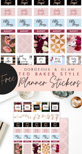 Free Chic Ted Baker inspired Planner Printable Stickers by Craft A Doodle Doo