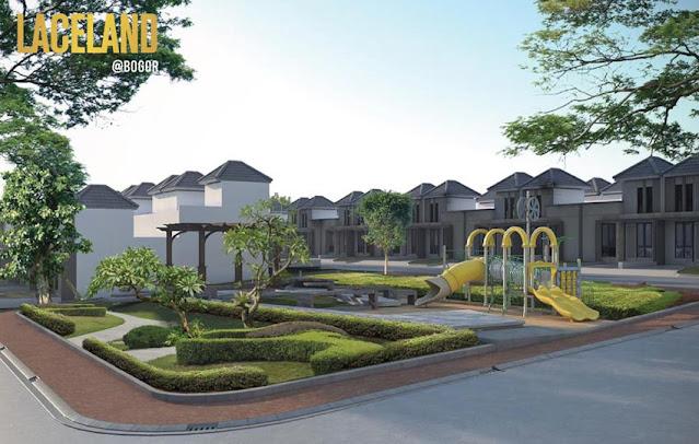 Rumah contoh yang dilengkapi taman bermain si dekitar perumahan