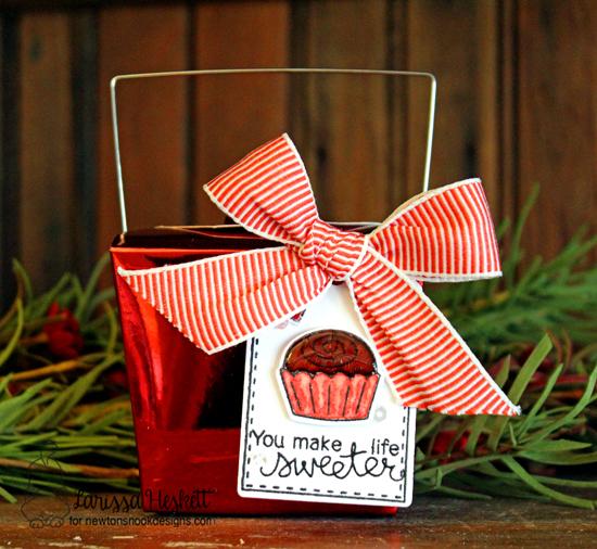 Chocolate Treat Box Tag by Larissa Heskett   Love & Chocolate stamp set by Newton's Nook Designs #newtonsnook