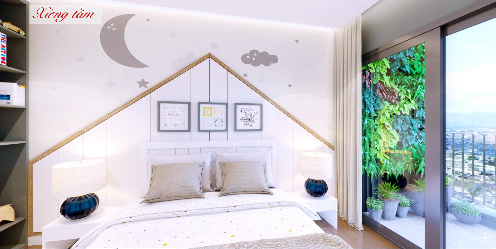 Phòng ngủ của căn 4 ngủ dự án Amber Riverside 622 Minh Khai