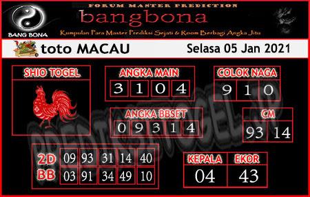 Prediksi Bangbona Toto Macau Selasa 05 Januari 2021
