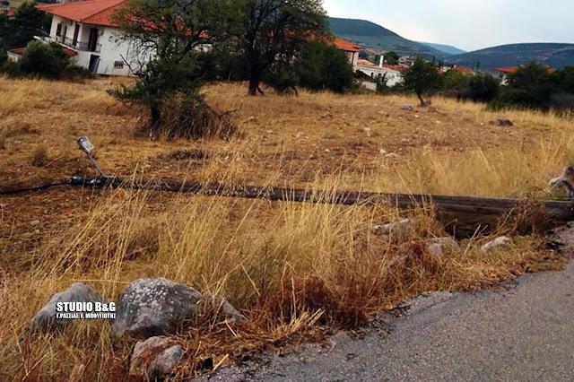 Δυνατό μπουρίνι ξήλωσε κολώνες τις ΔΕΗ στο Λυγουριό Αργολίδας