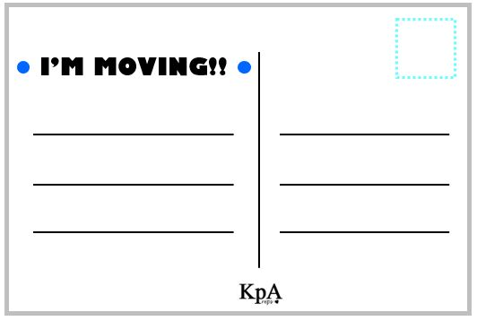 Happy Moving!! I Hope I Didnu0027t Get This Song Stuck In Your Head For The  Rest Of The Day!  Postcard Template Free Printable
