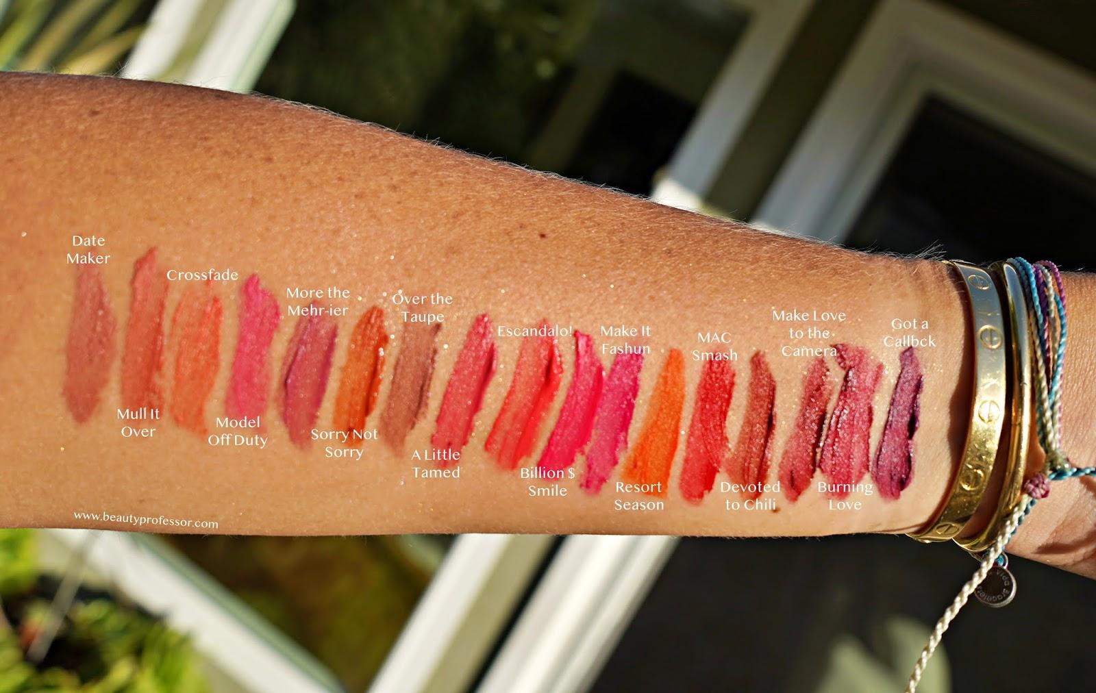 MAC Powder Kiss Liquid Lip Color swatches