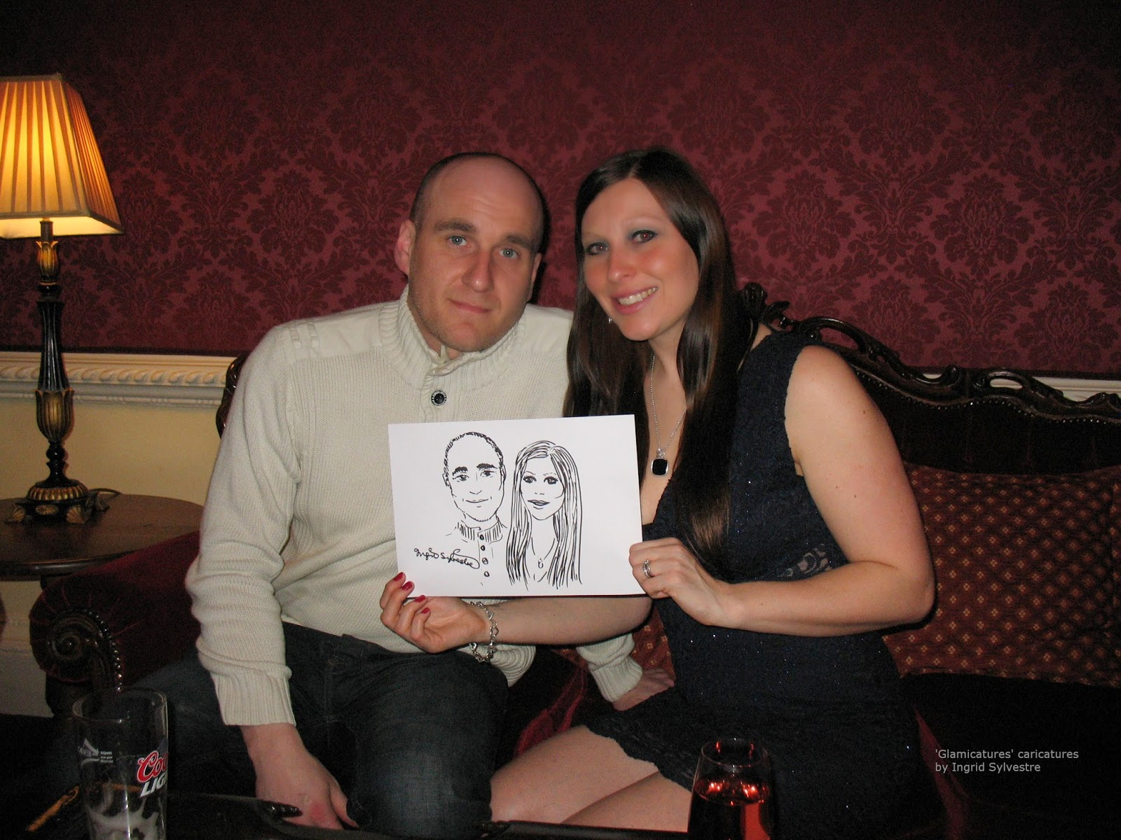 Glamicature wedding caricatures by UK caricaturist Ingrid Sylvestre - the wedding of Hannah and David at Lumley Castle Hotel County Durham North East UK