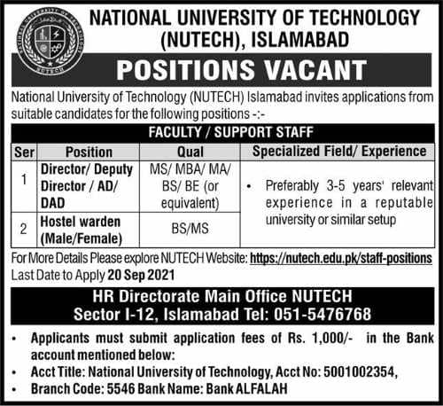 National University of Technology (NUTECH) Job 2021