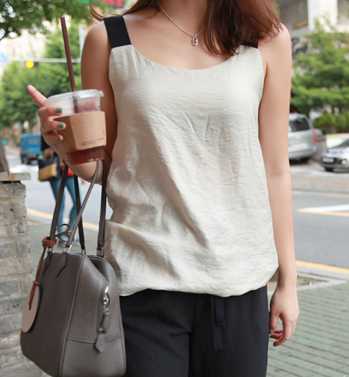 Contrast-Toned Strap Top
