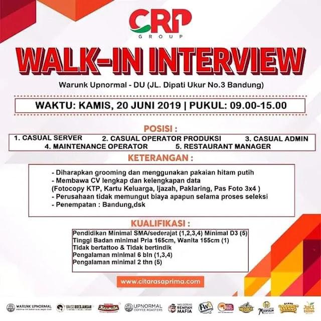 Info Lowongan Kerja Walk interview  PT. Citarasaprima Indonesia Berjaya Bandung 2019