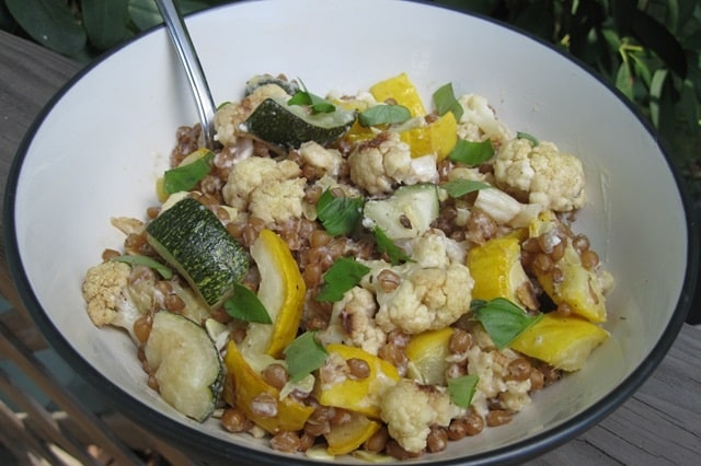 Roasted Veggie & Creamy Wheatberry Salad Recipe frugal healthy cooking