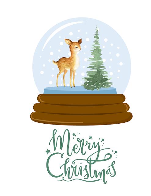 deer evergreen snow globe Merry Christmas