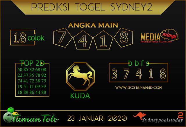 Prediksi Togel SYDNEY 2 TAMAN TOTO 23 JANUARI 2020