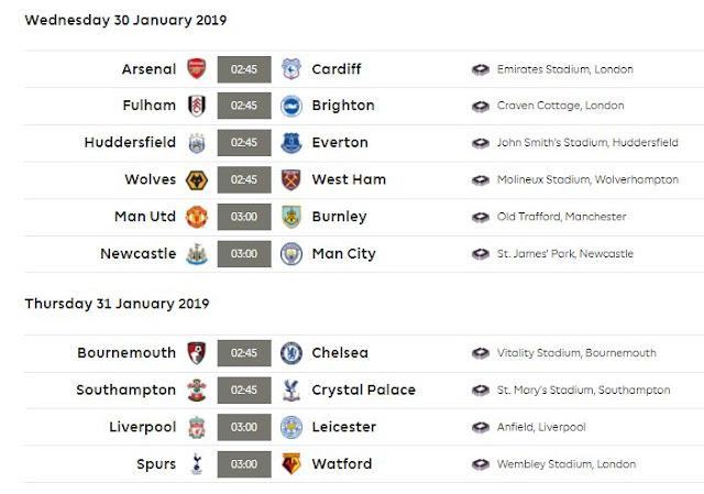 Jadwal Liga Inggris Pekan 24 Rabu-Kamis 30-31 Januari 2019