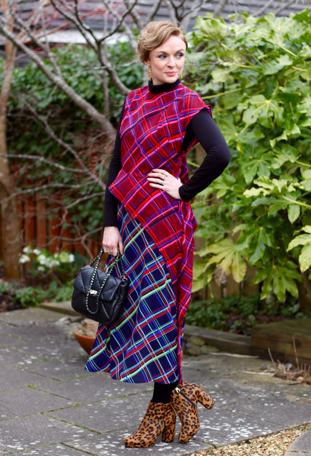 Tartan checked dress, leopard boots | Mixing patterns | Fake Fabulous