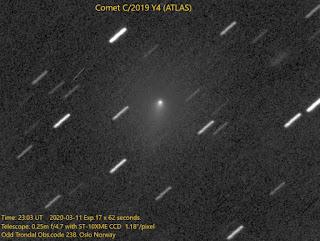 """Kometa C/2019 Y4 (ATLAS) sfotografowana 11.03.2020 r. teleskopem 250 mm f4/4.7 z kamerą CCD ST-10XME, łączny czas ekspozycji 17x62 sek. Widoczny krótki warkocz """"na godzinę 7"""" od jądra komety. Credit: Odd Trondal"""