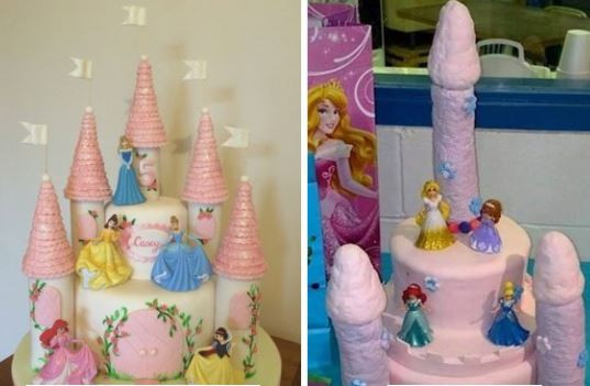 Funny! The cake she ordered VS what was delivered