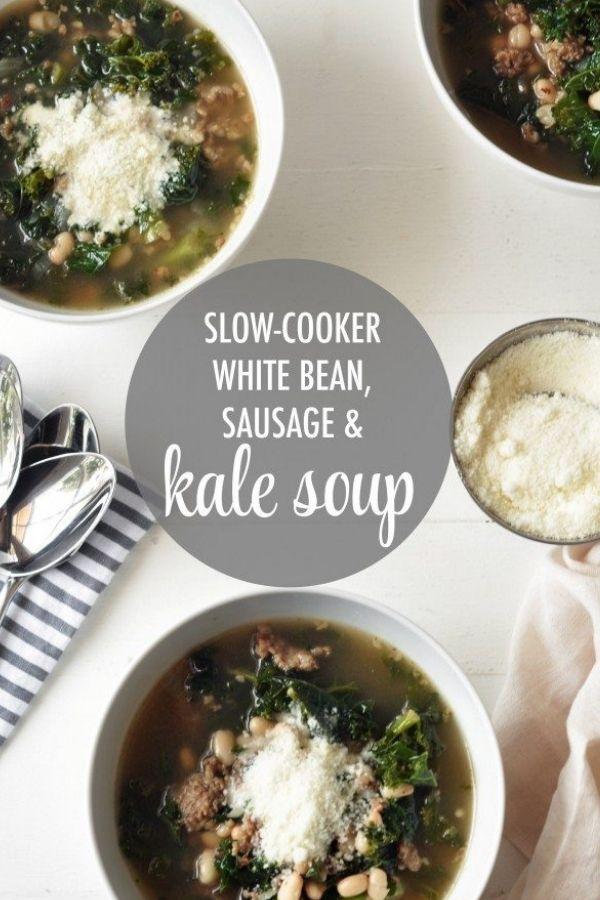 Slow-Cooker White Bean, Sausage & Kale Soup