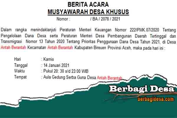 Download Contoh Berita Acara Musyawarah Desa Khusus Bantuan Langsung Tunai (BLT DD) Tahun 2021
