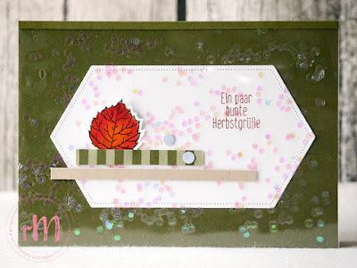 Stamp Impressions Blog Hop: Use your scraps: Herbstliche Grußkarte mit Resten, Für Herbst und Winter, Raffiniert bestickte Rahmen und laminiertem Glitzer