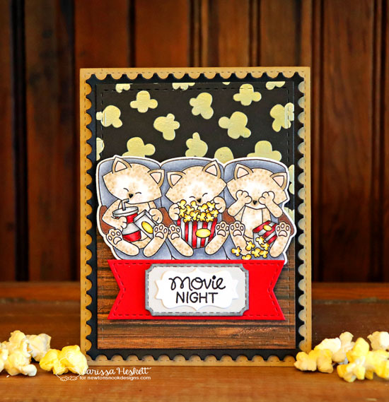 Cats and Movie card by Larissa Heskett | Newton's Movie Night Stamp Set, Popcorn Stencil, Frames & Flags Die Set and Framework Die Set by Newton's Nook Designs #newtonsnook #handmade