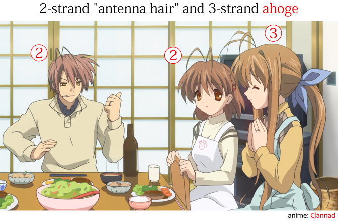Examples of antenna hair in anime and 3-strand ahoge