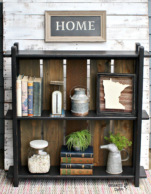 Painted Book Shelf with Rough Sawn Fence Board Back