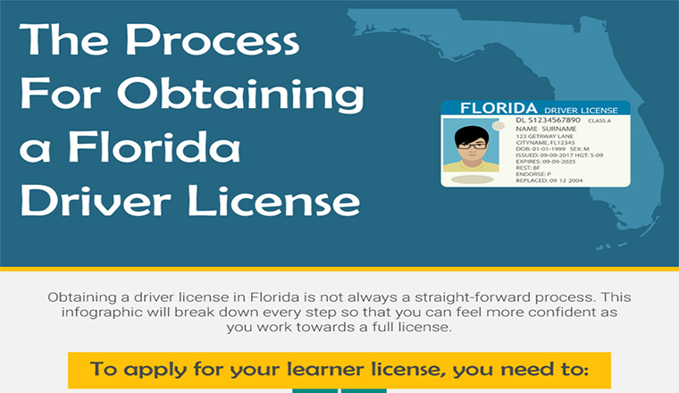 The Florida procedure for obtaining a driver's license #infographic
