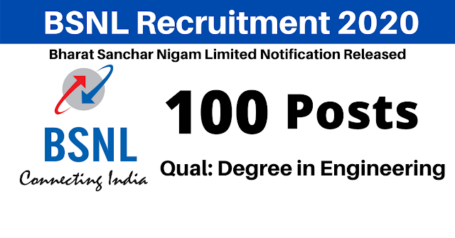 BSNL Recruitment 2020 Notification is out for 100 Vacancies. Check online application link for Graduate and Technician Apprentice Posts here.