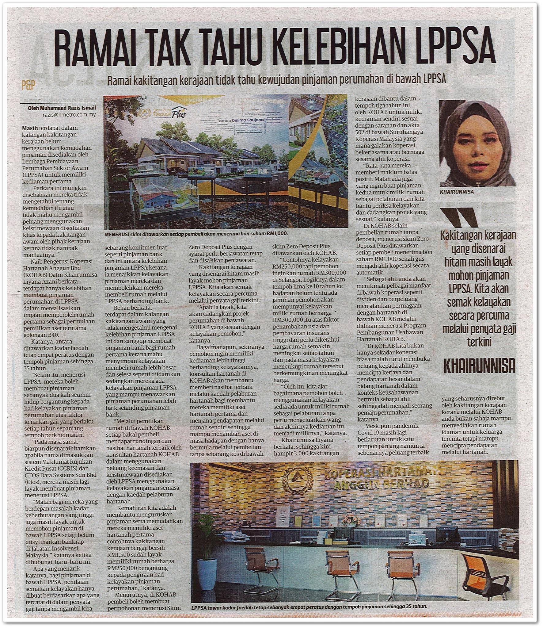 Ramai tak tahu kelebihan LPPSA - Keratan akhbar Harian Metro 23 Oktober 2020
