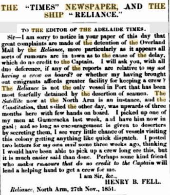 FELL Letter, 1851