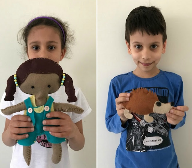 Children with their sewing projects