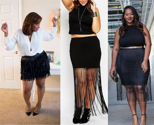 plus size black fringe skirt