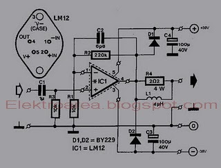BASIC POWER AMPLIFIER IC LM12 CIRCUIT SCHEMATIC DIAGRAM