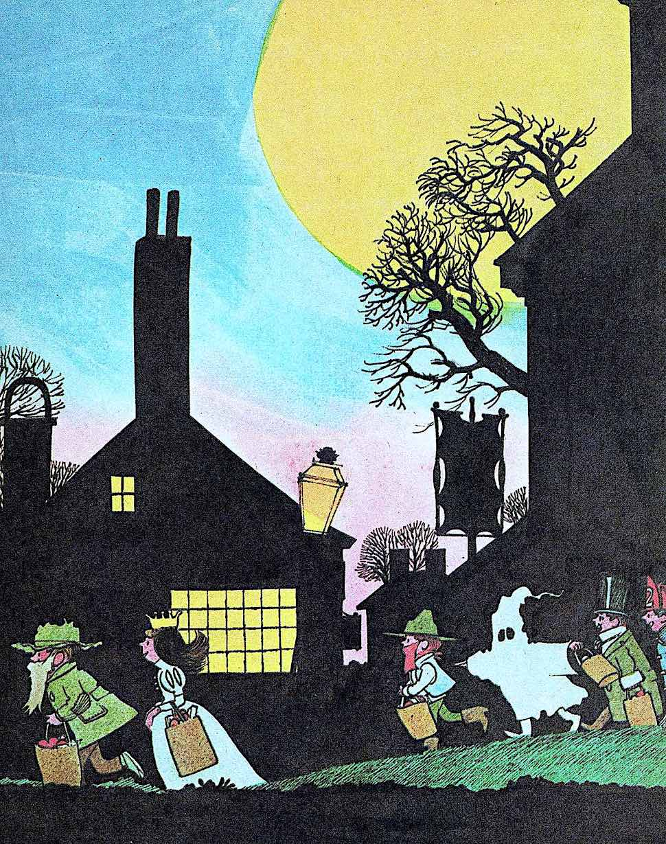a Wende and Harry Devlin illustration of children at Halloween
