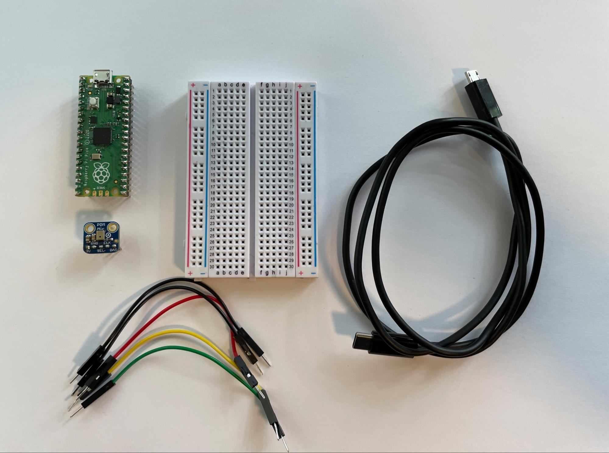 Image of Raspberry Pi Pico and PDM microphone board