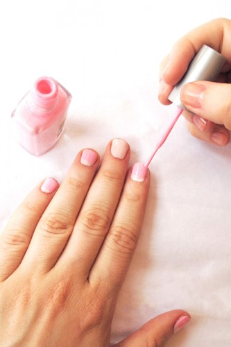 Paint 4/5 your nail with pink nail polish
