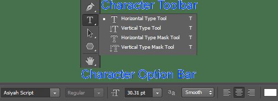 Horizontal-type-tool-and-type-option-bar