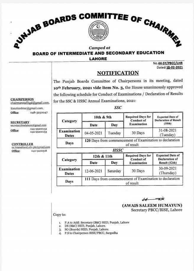 Punjab Boards Matric Inter Exams And Results Schedule 2021