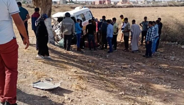 جماعة سيدي بوموسى بأولاد تايمة :  إنقلاب سيارة إسعاف تابعة لمنظمة دولية