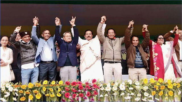 Darjeeling candidate Amar Singh Rai and Morcha and Trinamul leaders at the public meeting in Lebong