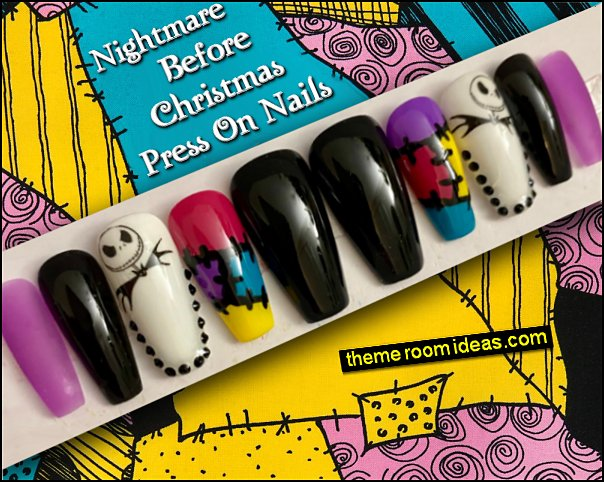 Nightmare Before Christmas decorating with Press On Nails Nightmare Before Christmas themed