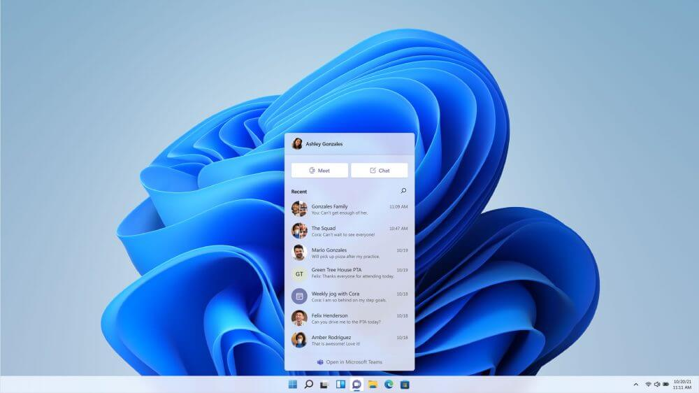 Windows 11 Microsoft Teams ile entegrasyon