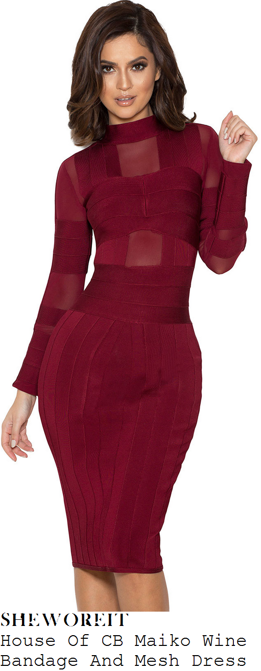 jessica-wright-house-of-cb-maiko-burgundy-wine-long-sleeve-high-neck-sheer-mesh-and-bandage-bodycon-pencil-dress