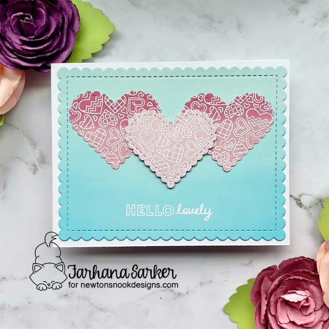 Hello Lovey Valentine card by Farhana Sarker | Heartfelt Love Stamp set, Heart Frames Die Set,and Frames & Flags Die Set by Newton's Nook Designs