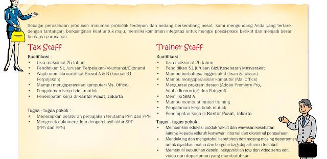 Lowongan Kerja PT Yakult Indonesia Persada Tingkat SMA SMK D3 S1