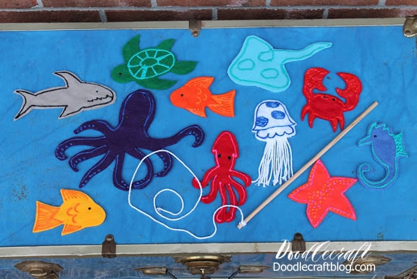 sea creatures magnetic fishing set diy