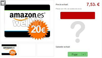 PUJA TARJETA AMAZON 20 EUROS