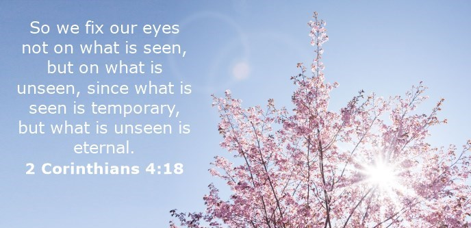 So we fix our eyes not on what is seen, but on what is unseen, since what is seen is temporary, but what is unseen is eternal.