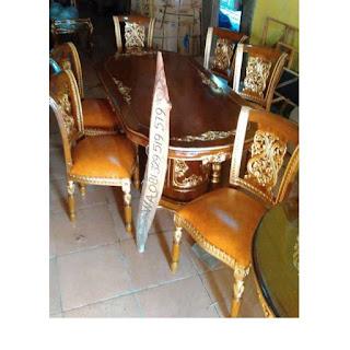 meja makan kayu jati model gendong kursi 6