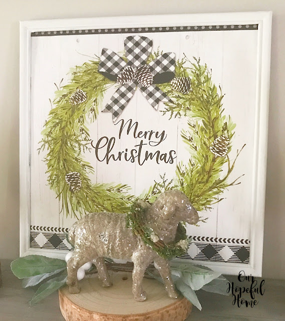 Christmas greens wreath pine cone buffalo check ribbon